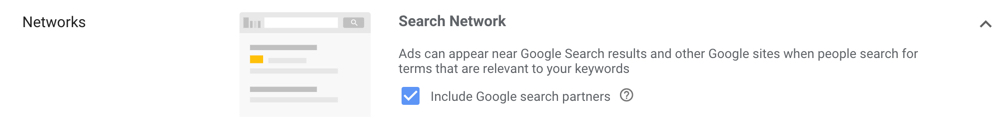A new Search Campaign will have Google search partners selected by default.
