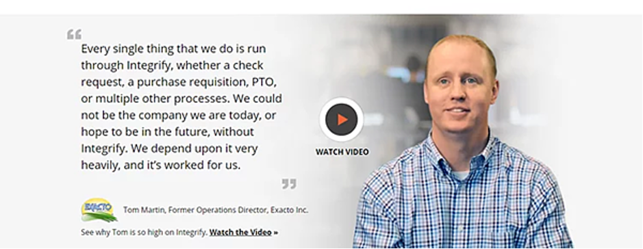 Landing page featuring a video testimonial for higher conversion rates.