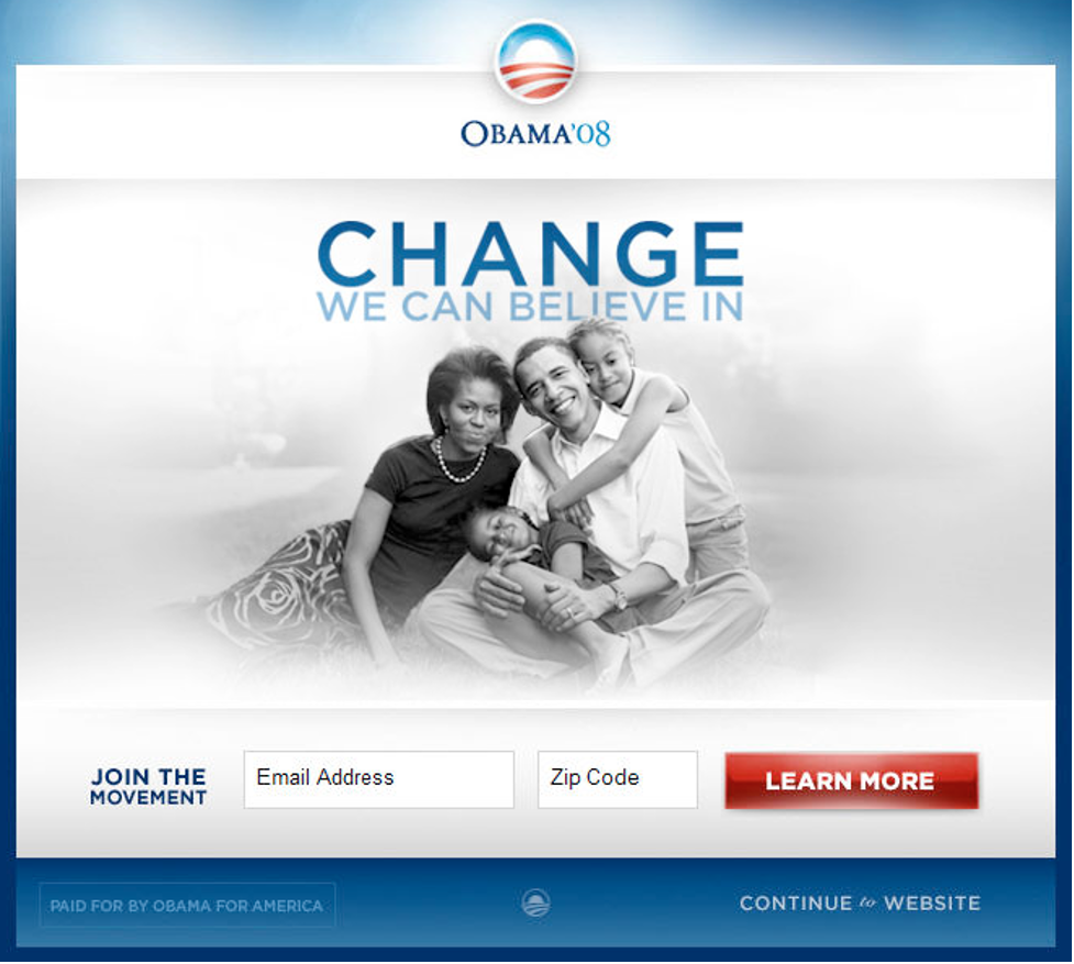 Winning landing page variant for the Obama 08 campaign.
