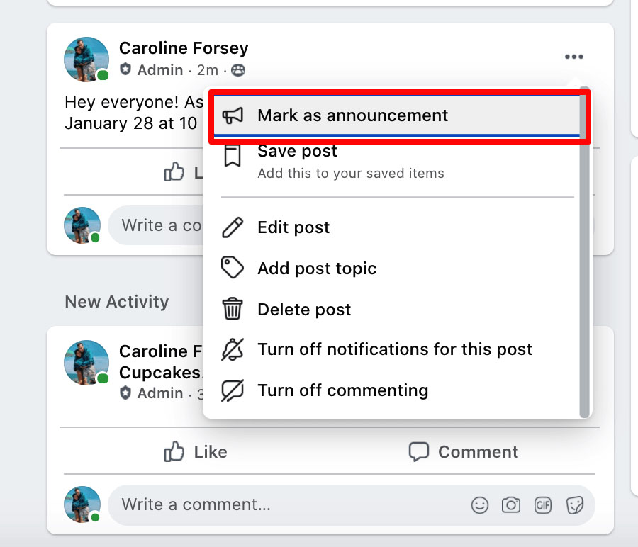 the button to pin a post on facebook