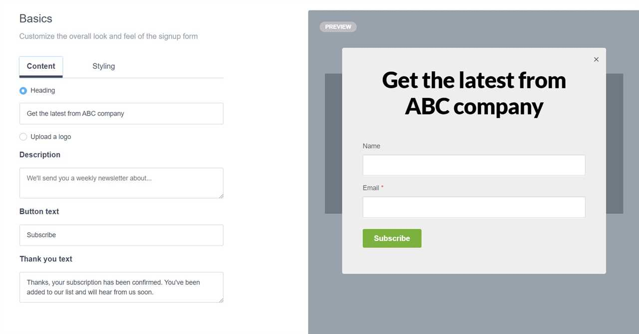example of email signup form