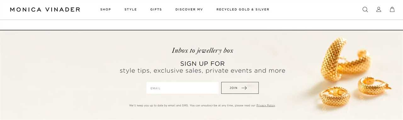 retail email signup form example