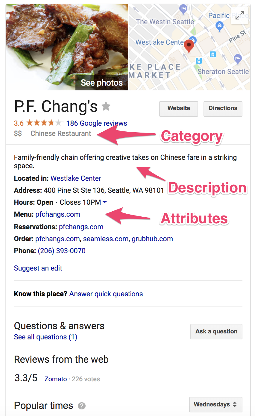 example of introducing attributes in your Google My Business account.