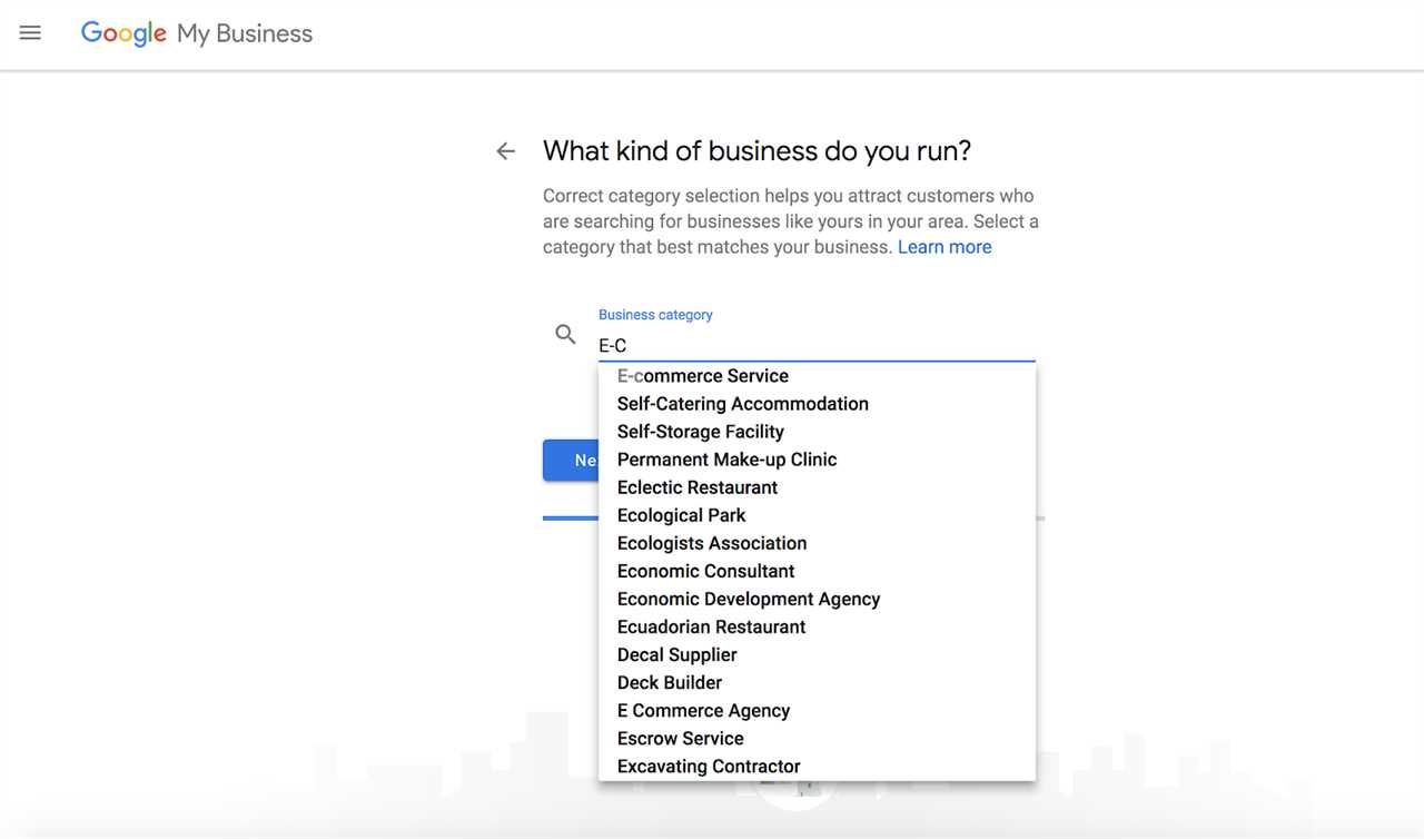 Example business categories for your google my business account