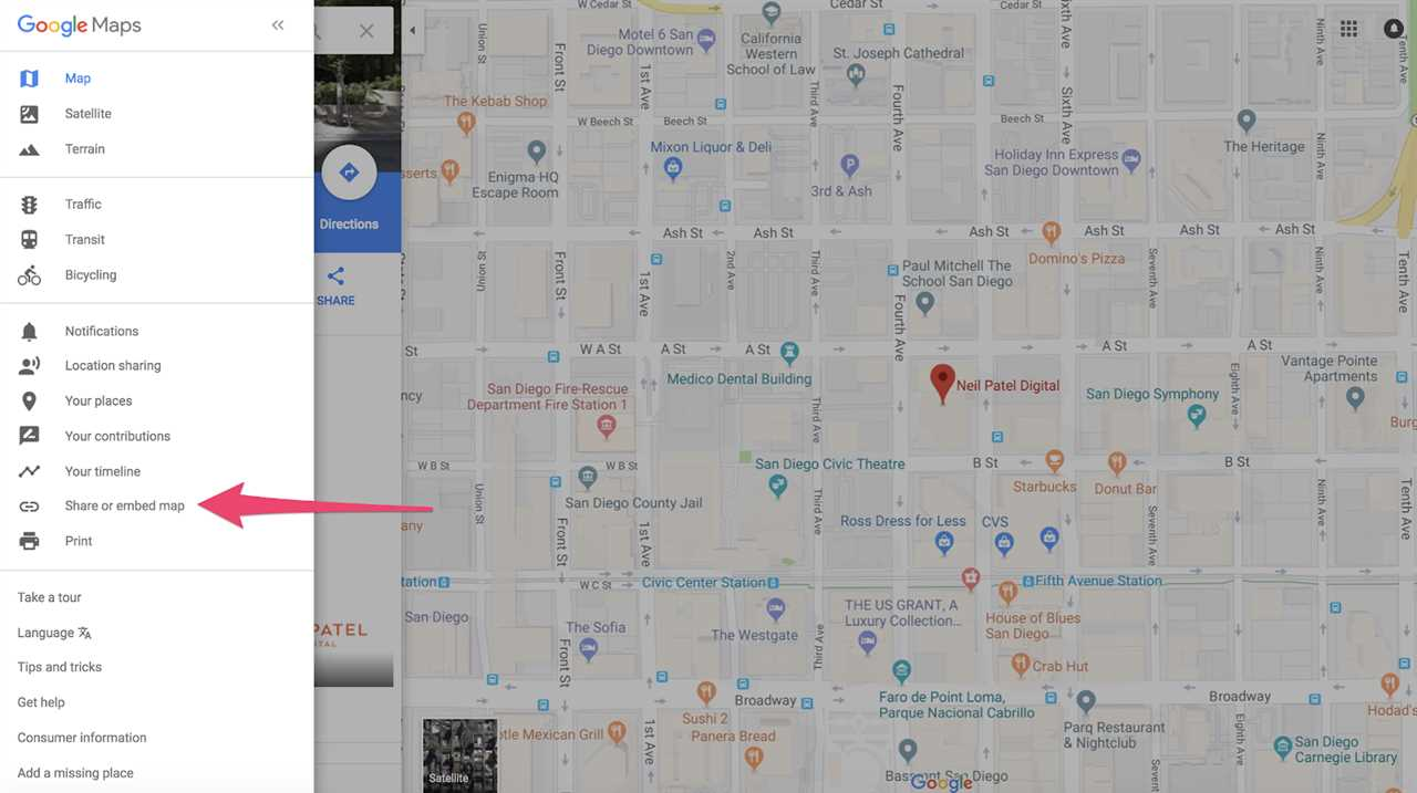 share/imbed map stage of claiming a business on Google