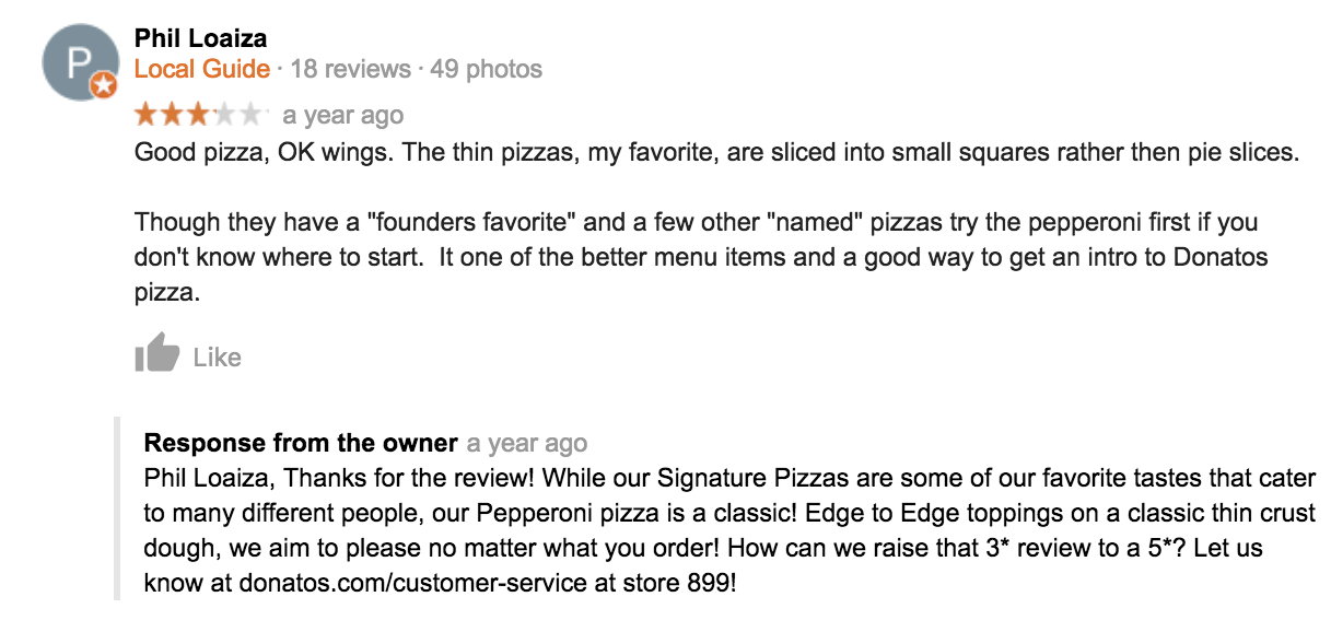 example 2 of responding to bad reviews on their Google My Business account