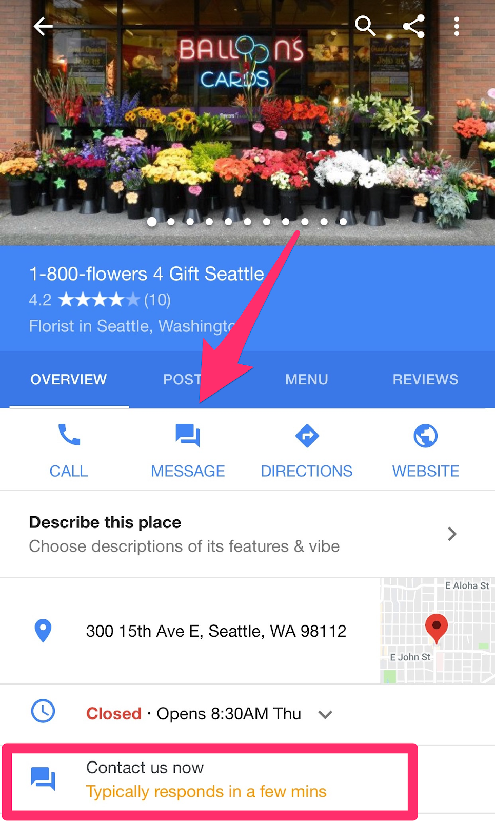 with the messaging feature on Google my Business, you can exchange texts sent straight from your listing