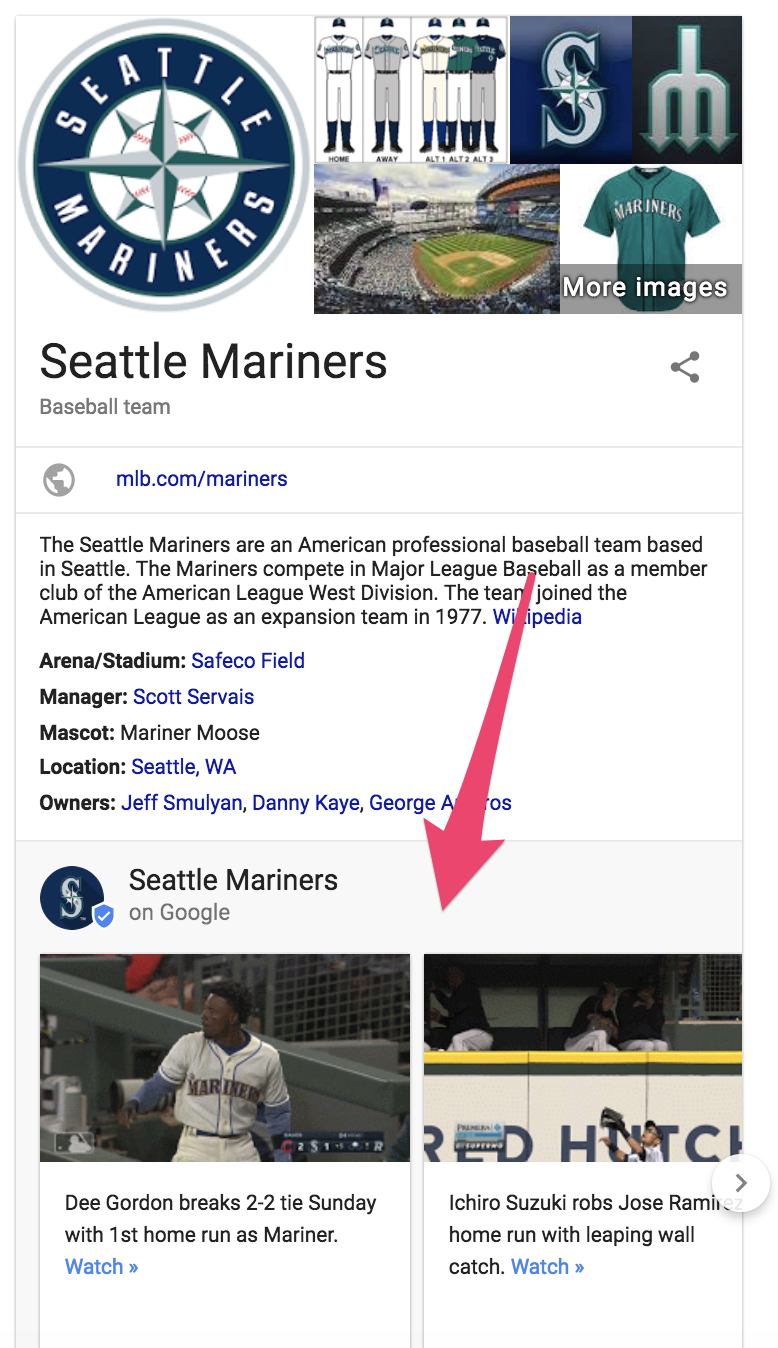 google my business idea - business page for the Seattle Mariners