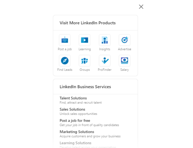 LinkedIn Insights - product offerings page