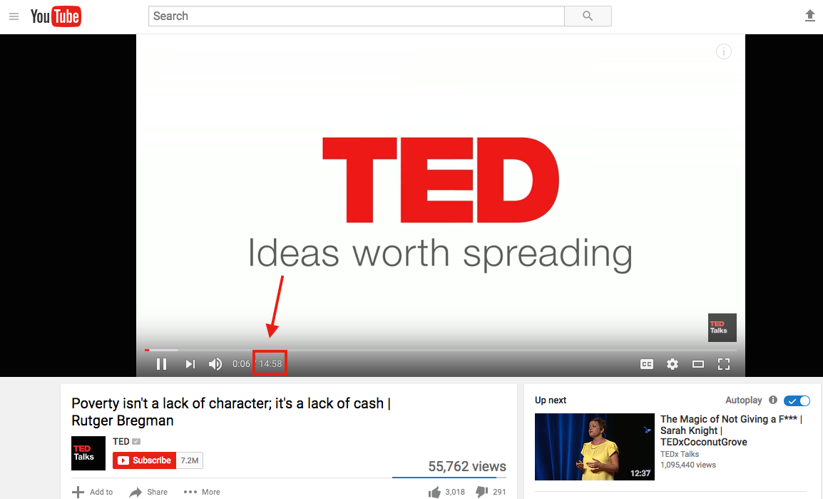 youtube seo tips find the right length Ted Talk example