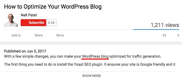 Youtube SEO keyword example